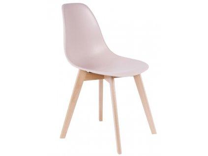 Světle růžová jídelní židle Artas s bukovou podnoží