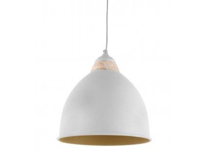 Bílé kovové závěsné světlo Emmaro 30 cm s dřevěným prvkem