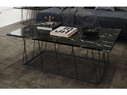 Konferenční stolek Rofus, černá podnož, černý mramor