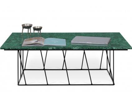 Konferenční stolek Rofus, černá podnož, zelený mramor