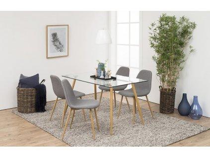 Světle šedá látková jídelní židle Wanda, čalounění, kovová podnož s povrchovou úpravou v barvě dubového dřeva