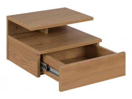 Designový minimalistický noční stolek s úložným prostorem Alison, hnědá barva dub