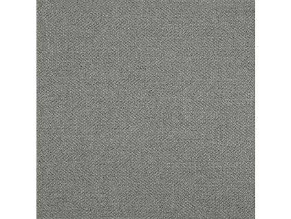 Světle šedé látkové křeslo Rika, čalounění, černě lakovaná kovová podnož