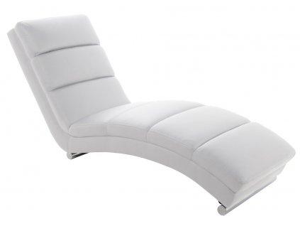 Bílé designové lehátko Grane, textilní kůže, chromovaná podnož