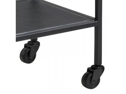 Černý kovový servírovací kuchyňský vozík Darila 60 cm se skleněnou deskou s kovovou podnoží