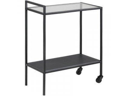 Černý kuchyňský vozík Darila 60 cm se skleněnou deskou