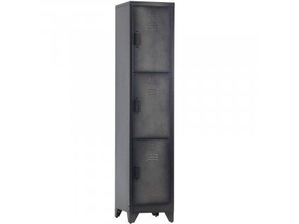 Černá kovová skříňka Gym 180 cm se třemi dvířky
