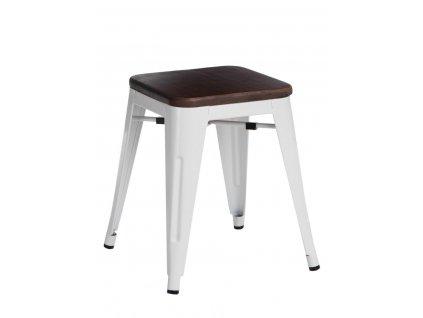 Designová bílá kovová stolička Tolix 45 s dřevěným sedákem