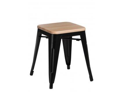 Designová černá kovová stolička Tolix 45 s dřevěným sedákem z borovice