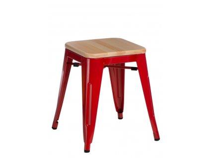 Červená kovová stolička Tolix 45 s dřevěným sedákem z borovice