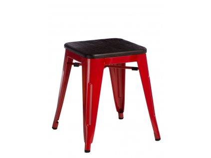 Červená kovová stolička Tolix s tmavým borovicovým sedákem 45 cm