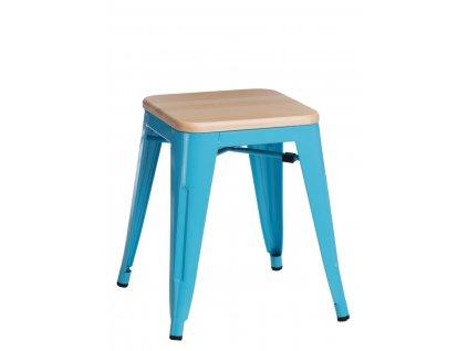 Modrá kovová stolička Tolix s borovicovým sedákem 45 cm