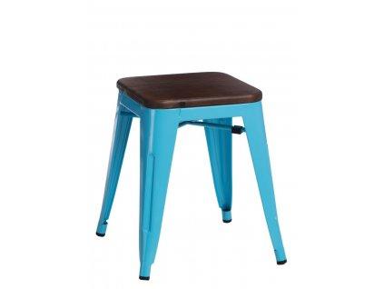 Modrá kovová stolička Tolix s ořechovým sedákem 45 cm
