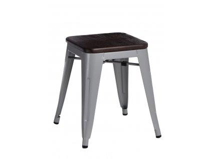 Designová šedá kovová stolička Tolix 45 se sedákem z kartáčovaného dřeva