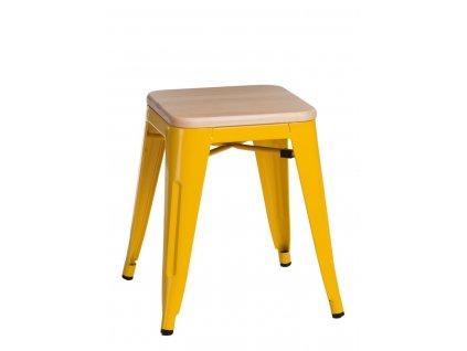 Žlutá kovová stolička Tolix s borovicovým sedákem 45 cm