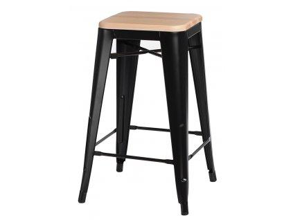 Industriální barová židle Tolix s kovovou černou konstrukcí a dřevěným sedákem