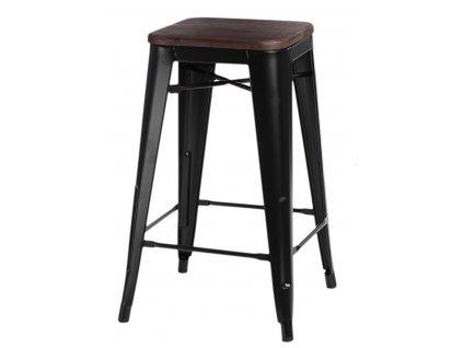 Designová barová židle Tolix černé barvy s dřevěným sedákem