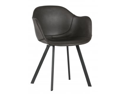 Tmavě šedá čalouněná jídelní židle Crema v ekokůži