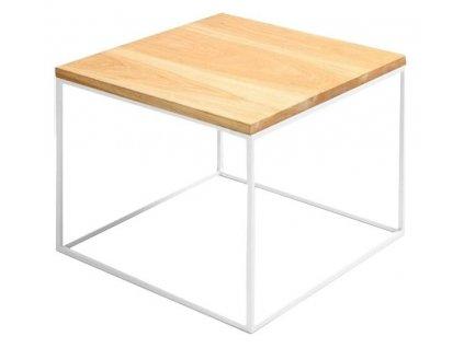 Přírodní masivní konferenční stolek Verton s bílou podnoží 50x50 cm
