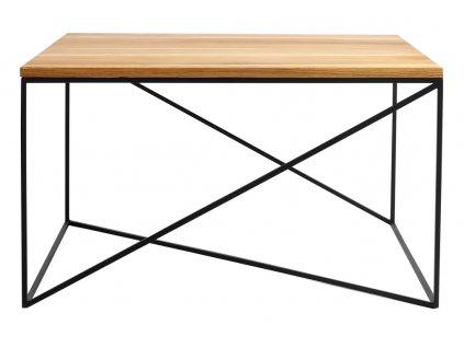 Přírodní masivní konferenční stolek Mountain s černou podnoží 100x100 cm