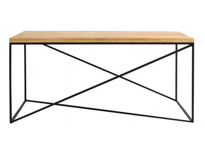 Přírodní masivní konferenční stolek Mountain s černou podnoží 100x60 cm