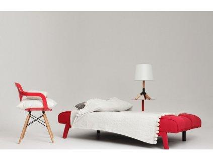 Červená čalouněná rozkládací dvoumístná pohovka Modena 178 cm