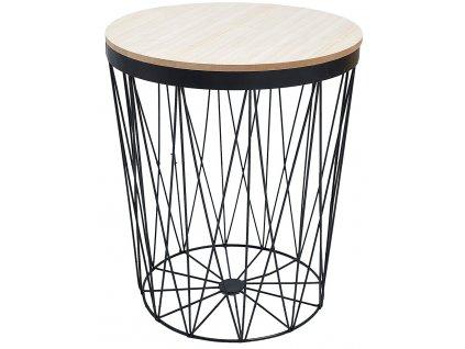Černý kulatý odkládací stolek Ronde 37 cm