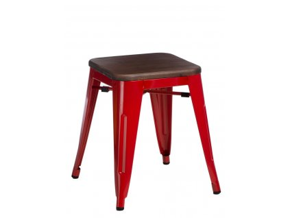 Červená kovová stolička Tolix 45 s dřevěným sedákem v odstínu ořech