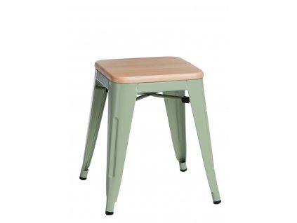 Zelená kovová stolička Tolix 45 s dřevěným sedákem z borovice
