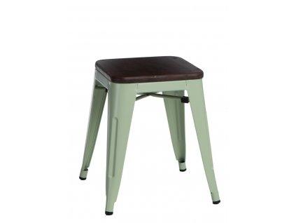 Zelená kovová stolička Tolix s ořechovým sedákem 45 cm