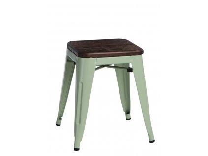 Designová zelená kovová stolička Tolix 45 se sedákem z kartáčovaného dřeva