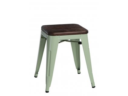 Zelená kovová stolička Tolix s tmavým borovicovým sedákem 45 cm