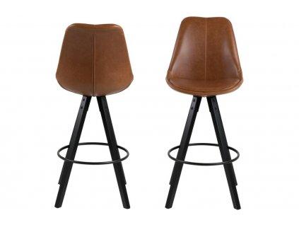 Hnědá koženková barová židle Damian