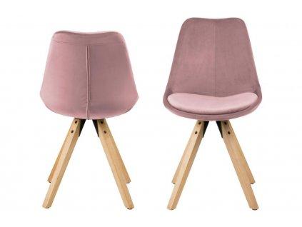 Růžová sametová jídelní židle Damian