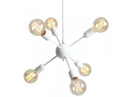 Bílé kovové závěsné světlo Trimo Globe