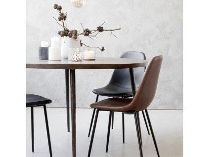 Designová jídelní židle Forms, hnědá
