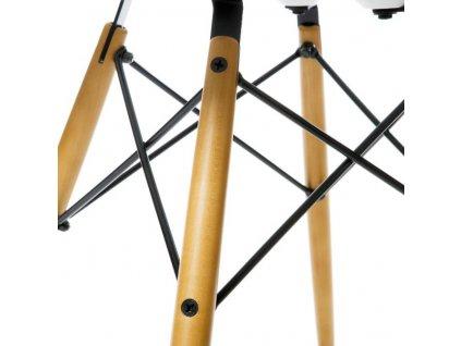 Designová bílá lesklá plastová židle DSW s bukovou podnoží