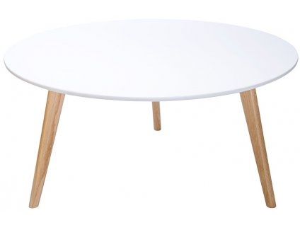 Bílý kulatý konferenční stolek Wood