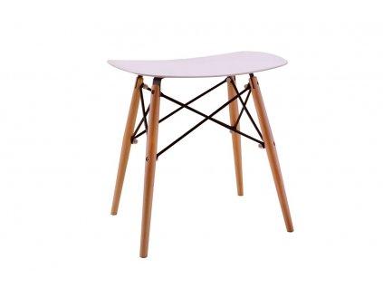 Bílá plastová stolička DSW s bukovoou podnoží