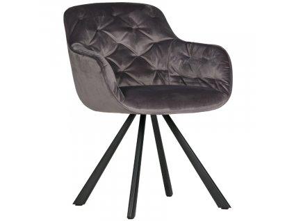 Antracitově šedá sametová jídelní židle Herian
