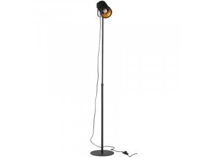 Černá kovová stojací lampa Folk
