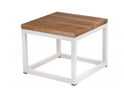 Konferenční stolek Crate 100x100, 30 mm, bílý kov/dub