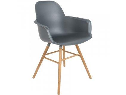 Tmavě šedá plastová jídelní židle ZUIVER ALBERT KUIP s područkami