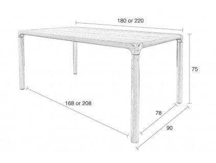 Černý stůl ZUIVER STORM 220x90 cm