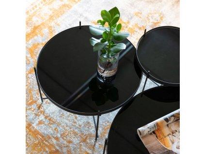 Skleněný konferenční kovový stolek ZUIVER CUPID Ø 62,5 cm s deskou ze zrcadlového skla, černá barva