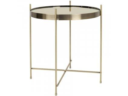 Skleněný odkládací kovový stolek ZUIVER CUPID Ø 43 cm ze zrcadlového skla, zlatá barva