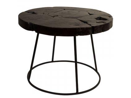 Černý konferenční stolek DUTCHBONE KRATON O 60 cm, indonéská kultura, masivní teakové dřevo, železná podnož v černé barvě