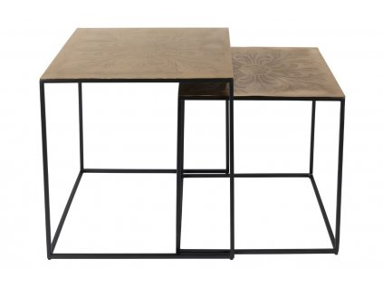 Mosazný set konferenčních stolků DUTCHBONE SAFFRA, rytý dekorativní vzor, černá podnož