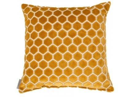 Žlutý polštář ZUIVER MONTY s motivem včelí plástve