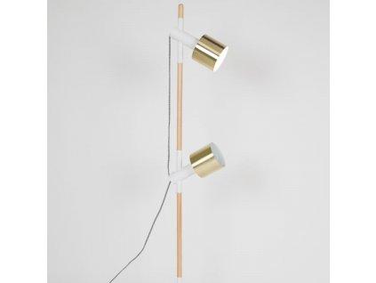 Stojací lampa ZUIVER IVY se zlatými stínidly dřevěná základna